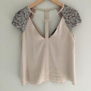 BCBG Sierra silk + sequin top
